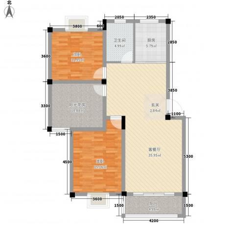 东方丽景2室1厅1卫1厨89.72㎡户型图