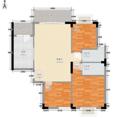 枫叶雅堤3室1厅2卫1厨85.43㎡户型图