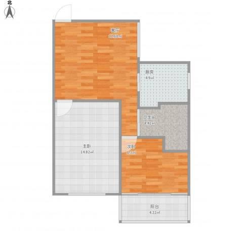 控江一村2室1厅1卫1厨74.00㎡户型图