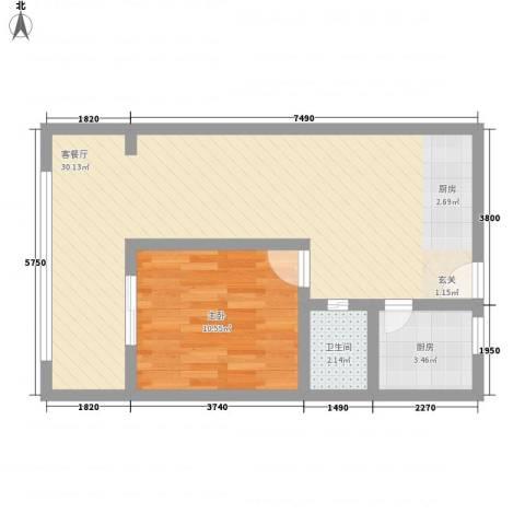 煜卫泽园1室1厅1卫1厨67.00㎡户型图