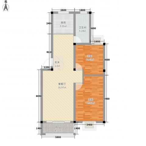 东方丽景2室1厅1卫1厨103.00㎡户型图