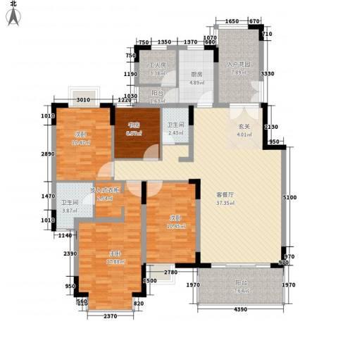 华星雅苑4室1厅2卫1厨162.00㎡户型图