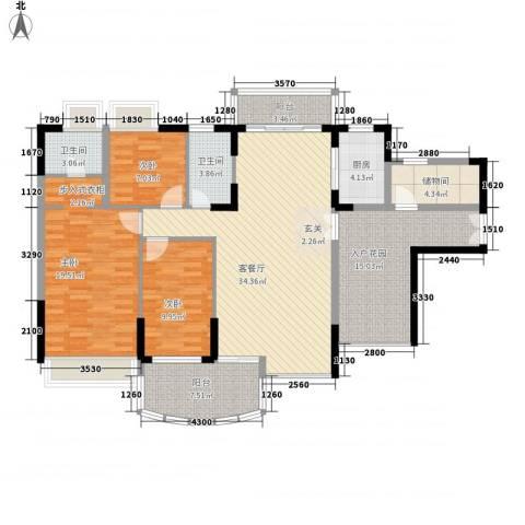 华星雅苑3室1厅2卫1厨160.00㎡户型图