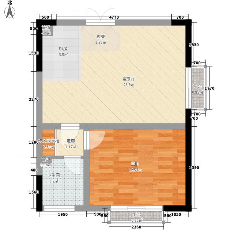祥隆花园62.34㎡户型1室2厅1卫1厨