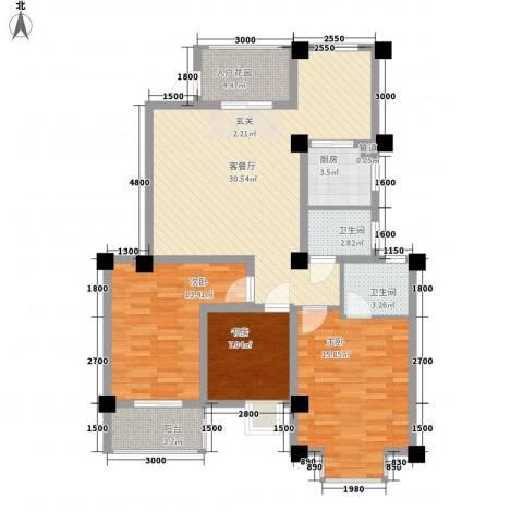 晓翠园3室1厅2卫1厨185.00㎡户型图