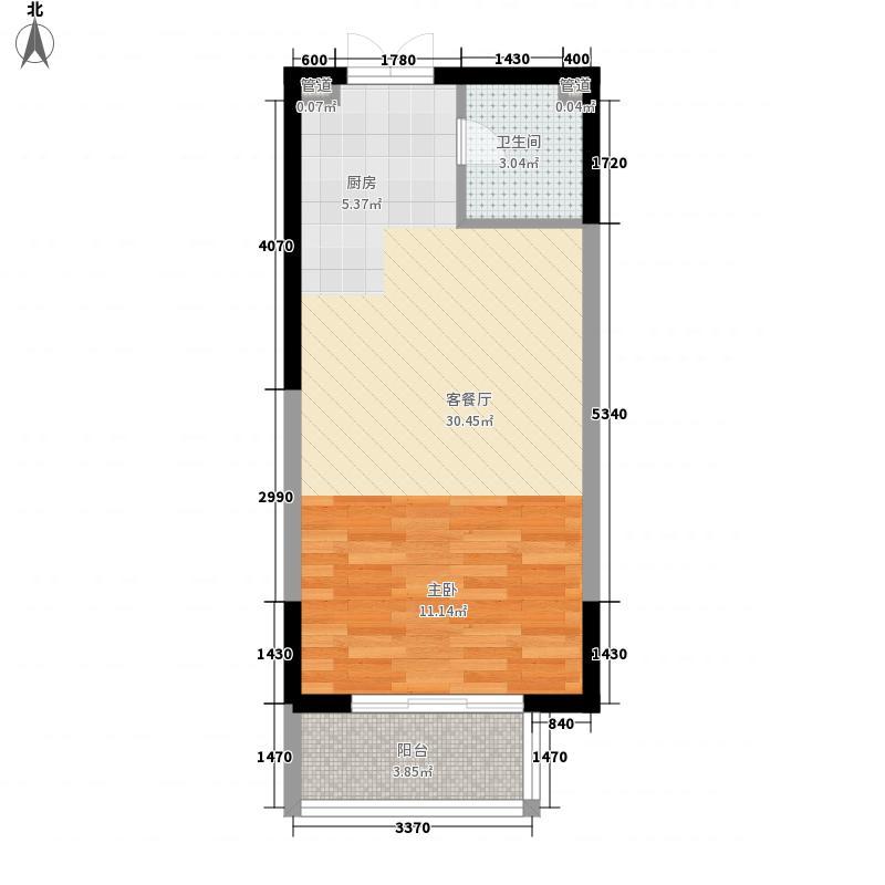 祥隆花园51.55㎡户型1室2厅1卫1厨