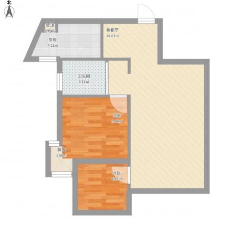 九仰梧桐公寓2室1厅1卫1厨67.00㎡户型图