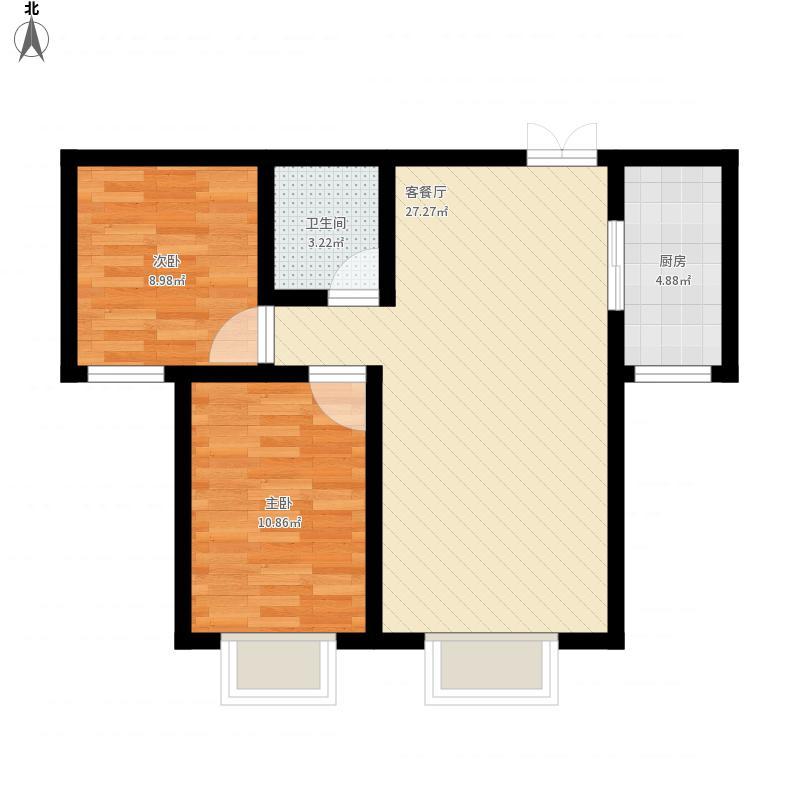 金源尚郡2号楼B户型83.60平米
