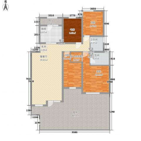 首创隽府4室1厅2卫1厨151.04㎡户型图