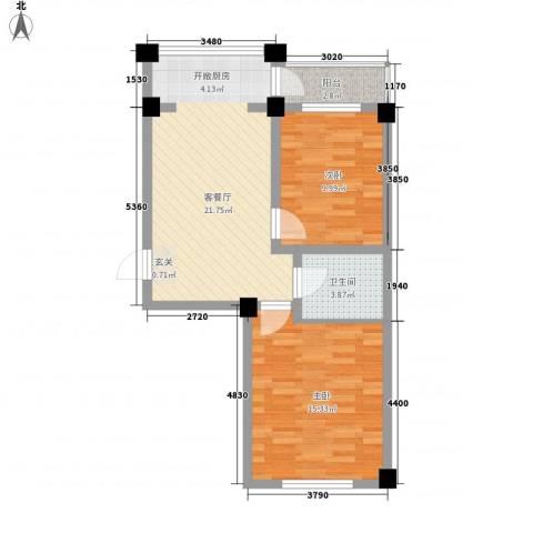 华远・龙湾2室1厅1卫0厨53.74㎡户型图