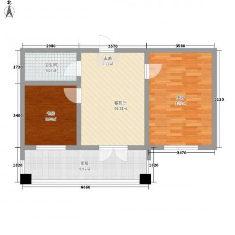华远・龙湾2室1厅1卫1厨55.21㎡户型图