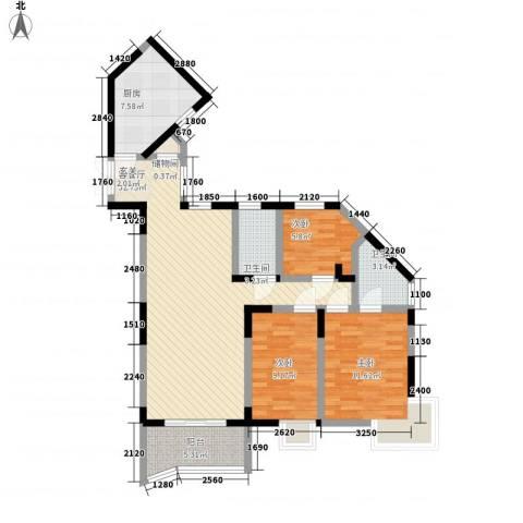 丽园新村3室1厅2卫1厨116.00㎡户型图