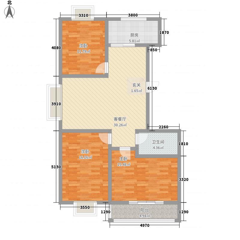 亿盛大宅院134.12㎡1号楼标准层A户型3室2厅1卫1厨