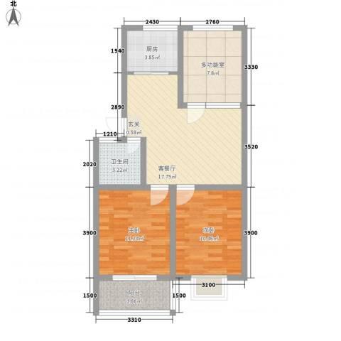 工福苑2室1厅1卫1厨85.00㎡户型图