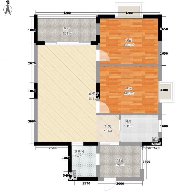 建宝花园户型2室2厅2卫1厨