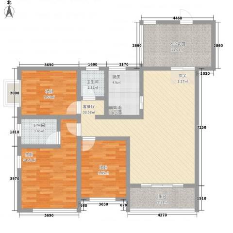 雅梦新居3室1厅2卫1厨134.00㎡户型图