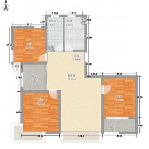 雅梦新居3室1厅1卫1厨124.00㎡户型图