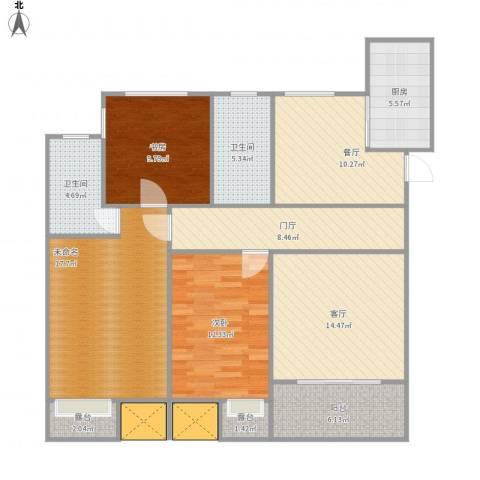 奥克斯盛世缔壹城2室2厅2卫1厨134.00㎡户型图