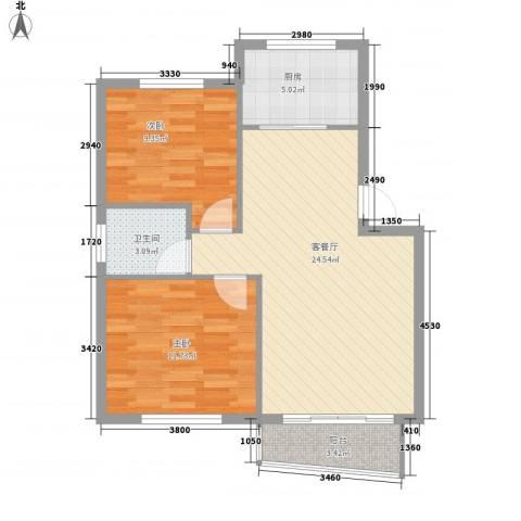香洲田园城2室1厅1卫1厨80.00㎡户型图