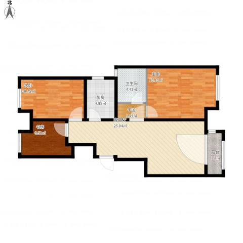 刘先生-金地朗悦3室1厅1卫1厨101.00㎡户型图