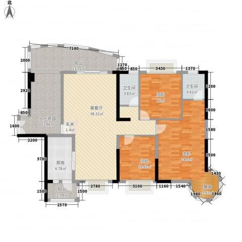 麦地南山庄3室1厅2卫1厨128.63㎡户型图