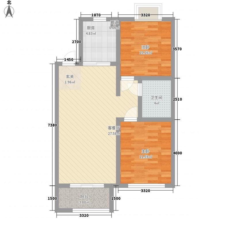 鸿海佳园1#C户型2室2厅1卫1厨