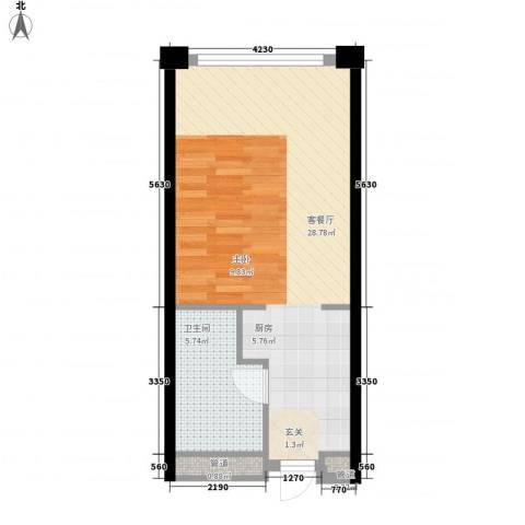 保利世贸公寓1厅1卫0厨51.00㎡户型图