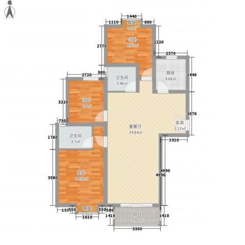 泰和家园3室1厅2卫1厨117.00㎡户型图