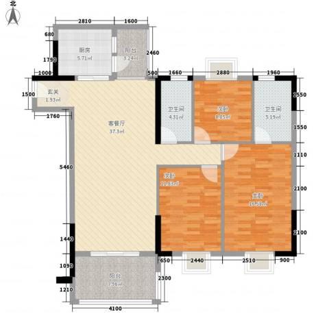 七星奥林园3室1厅2卫1厨100.18㎡户型图