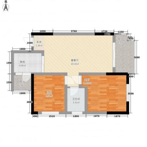 涪陵金科廊桥水岸2室1厅1卫1厨75.00㎡户型图