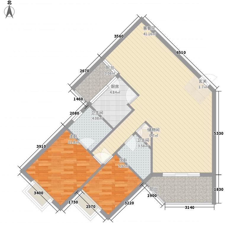仁和馨园18.25㎡14#楼C户型3室2厅2卫1厨