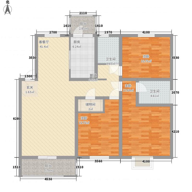 城市之光127.00㎡一期F户型3室2厅2卫