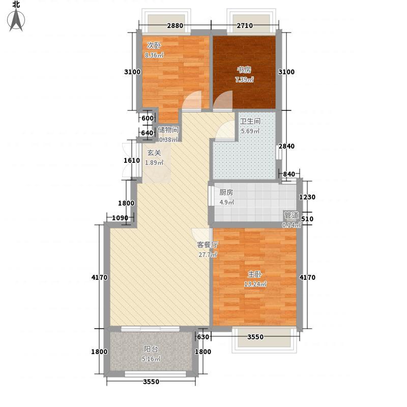 鸿海佳园6.00㎡7#B户型3室2厅1卫1厨