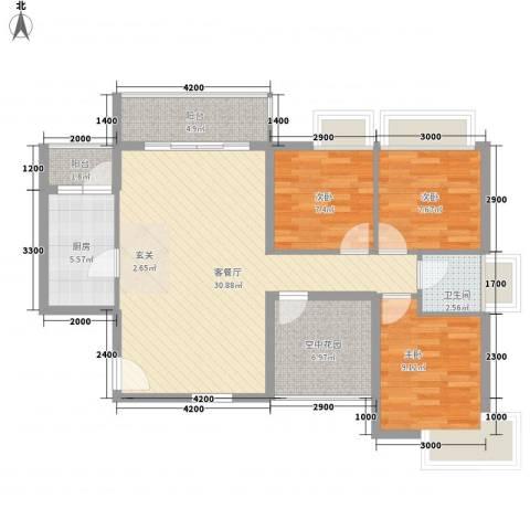 德丰二月天3室1厅1卫1厨109.00㎡户型图