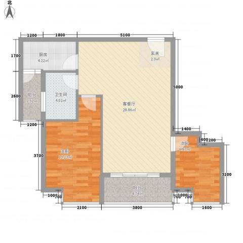 惠丰城2室1厅1卫1厨79.00㎡户型图