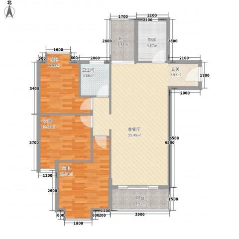 惠丰城3室1厅1卫1厨86.21㎡户型图