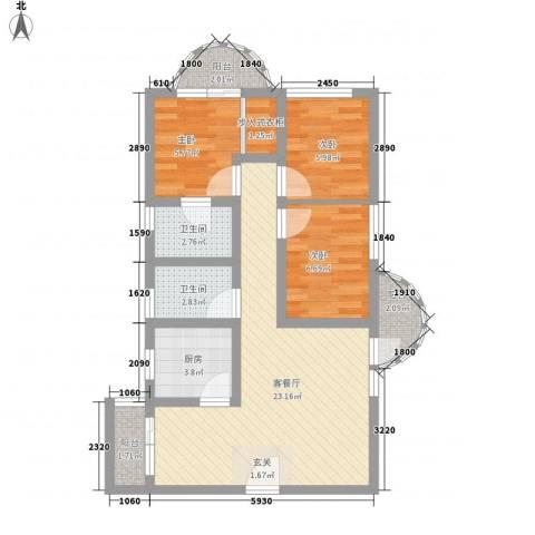 渝景湾花园3室1厅2卫1厨88.00㎡户型图