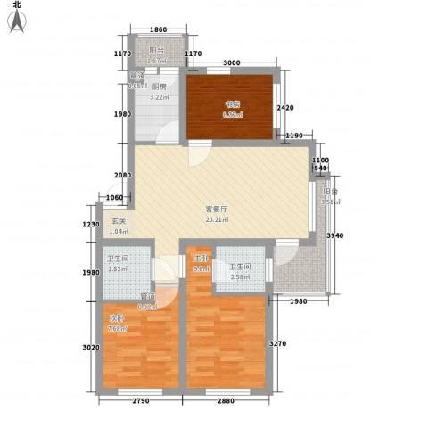 滨才城3室1厅2卫1厨85.00㎡户型图