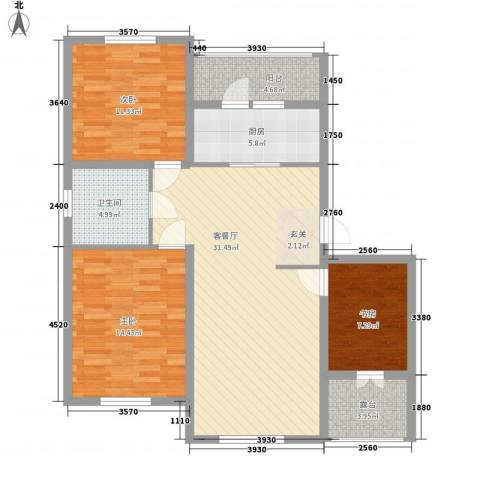 滨才城3室1厅1卫1厨83.96㎡户型图