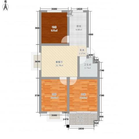 欣泰盛和苑3室1厅1卫0厨88.00㎡户型图
