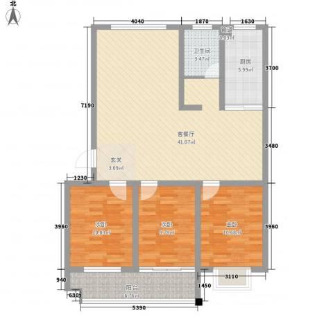 欣泰盛和苑3室1厅1卫1厨127.00㎡户型图