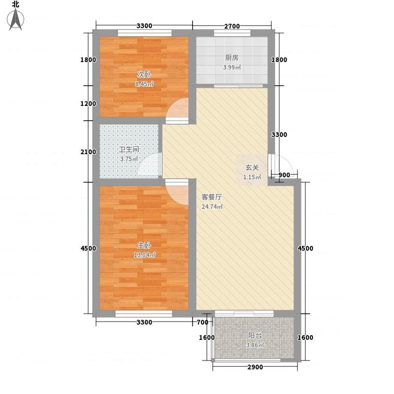 三田雍泓・青海城88.00㎡R两居户型2室2厅1卫1厨