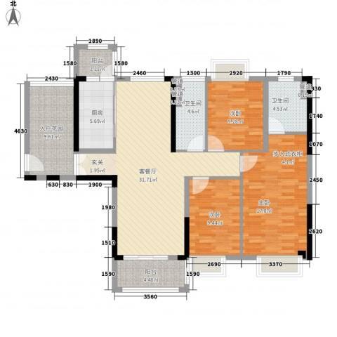 永安新城SUN第坊3室1厅2卫1厨142.00㎡户型图