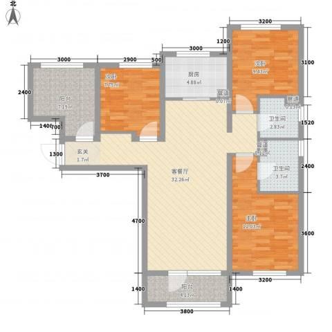大运河孔雀城温莎郡3室1厅2卫1厨122.00㎡户型图