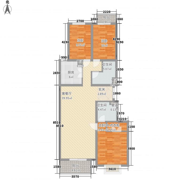 龙城天悦134.45㎡户型3室2厅2卫1厨