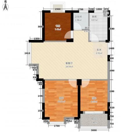 岸上玫瑰3室1厅1卫1厨93.00㎡户型图