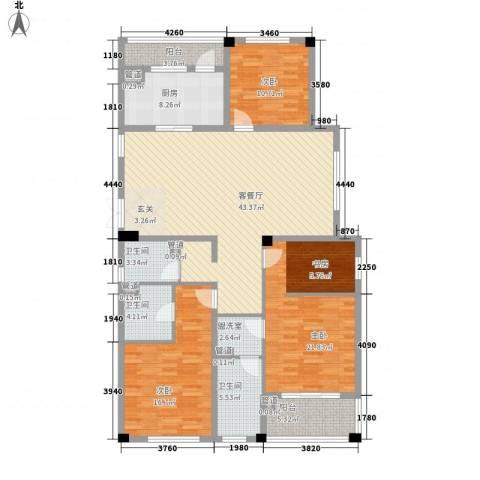 康恒悦麒美寓3室2厅3卫1厨180.00㎡户型图