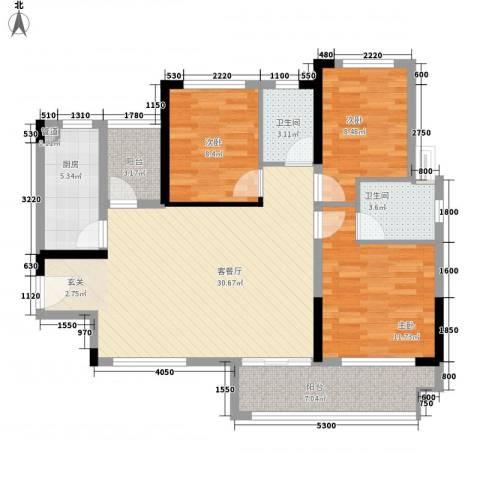 金鸿利嘉阁3室1厅2卫1厨81.66㎡户型图