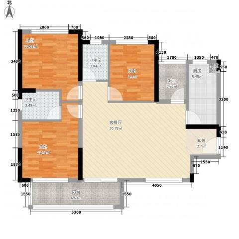 金鸿利嘉阁3室1厅2卫1厨83.94㎡户型图