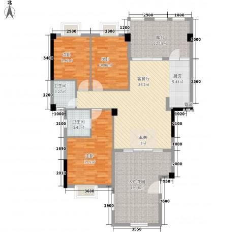 联发欣悦园3室1厅2卫0厨151.00㎡户型图